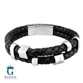 Czarna pleciona bransoletka na rękę dla mężczyzn