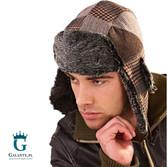 Brązowa czapka męska Uszatka C-93253