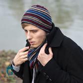 Kolorowa czapka męska z wełny owczej LW-58