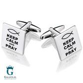 Keep Calm and Pray - módl się - spinki do mankietów dla duchownych