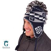 Niebieska czapka zimowa męska C-93152