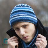 Niebieska czapka męska, zimowa z wełny LW-23