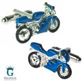 Niebieskie motory - spinki do koszuli