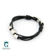 Czarna bransoleta męska ze skóry LSB-018