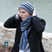 Wełniana czapka męska niebiesko-szara LW-9