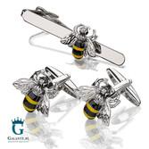 Zestaw dla pszczelarza, wielbiciela miodu - Spinki do mankietów i spinka do krawata