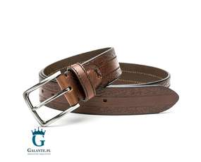 Brązowy pasek skórzany casual jeans Miguel Bellido 4980-40-1612-13