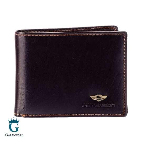 Brązowy skórzany portfel męski PETERSON 366 RFID