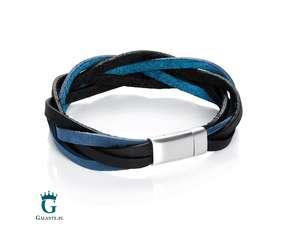 Czarno-niebieska bransoletka pleciona ze skóry naturalnej TX236-BLKNV