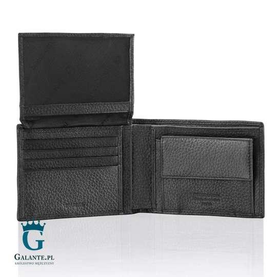 Czarny skórzany portfel męski Pierre Cardin