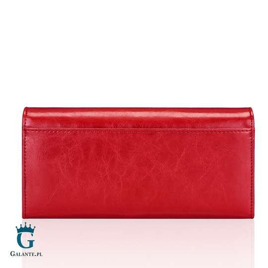 Czerwony Portfel Damski Peterson ze skóry naturalnej PL467 Red