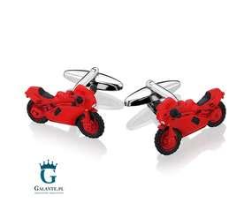 Czerwony motor, spinki do mankietów dla motocyklisty