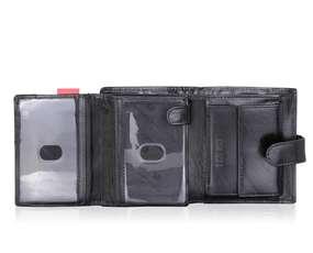 Duży Portfel Męski z zapięciem Czarny PETERSON 301z RFID