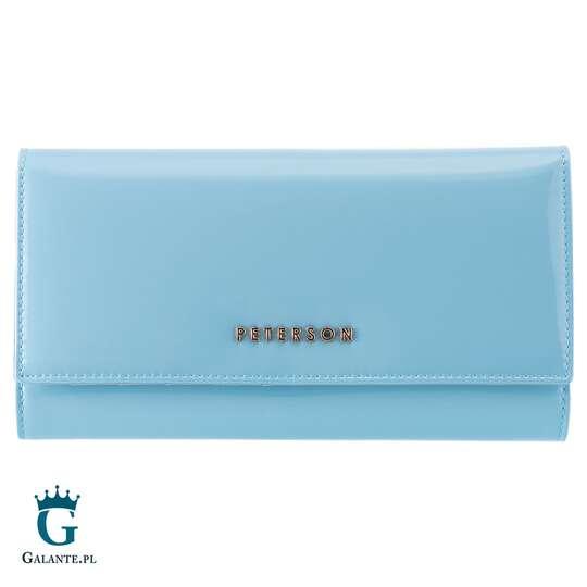 Duży lakierowany portfel damski PETERSON BC490 RFID