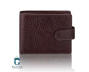 Elegancki skórzany portfel męski zapinany na zatrzask 159-902 RFID