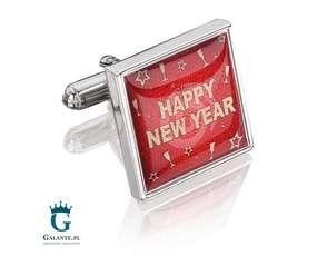 Happy New Year - sylwestrowe spinki do mankietów PS-309