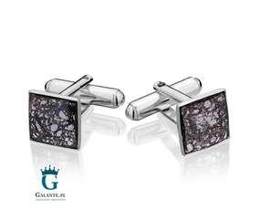 Kwadratowe spinki do mankietów kryształ i patina SMS-003