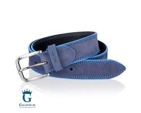 Niebieski pasek do spodni modny i elegancki
