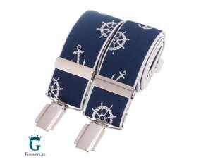 Niebieskie szelki do spodni z motywem marynarskim