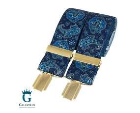 Niebieskie szelki męskie ze wzorem