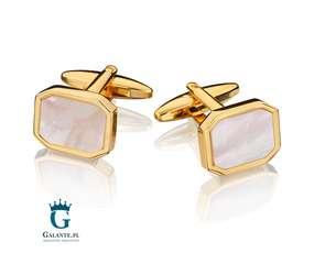 Perłowe spinki do mankietów w kolorze złotym SD-1505