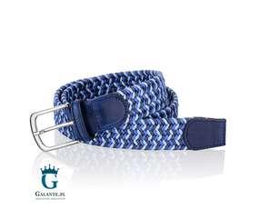 Pleciony ze skóry niebieski pasek do spodni
