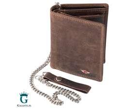 Pionowy portfel męski PETERSON 342L RFID z łańcuchem