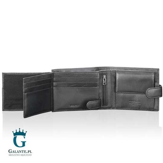 Poziomy portfel męski z zapięciem na zatrzask Pierre Cardin