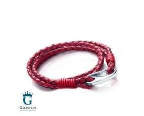 Skórzana bransoletka w kolorze czerwonym