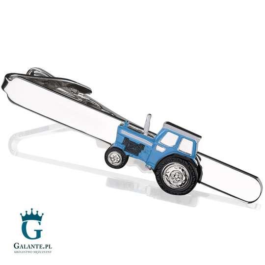 Traktor niebieski - spinka do krawata