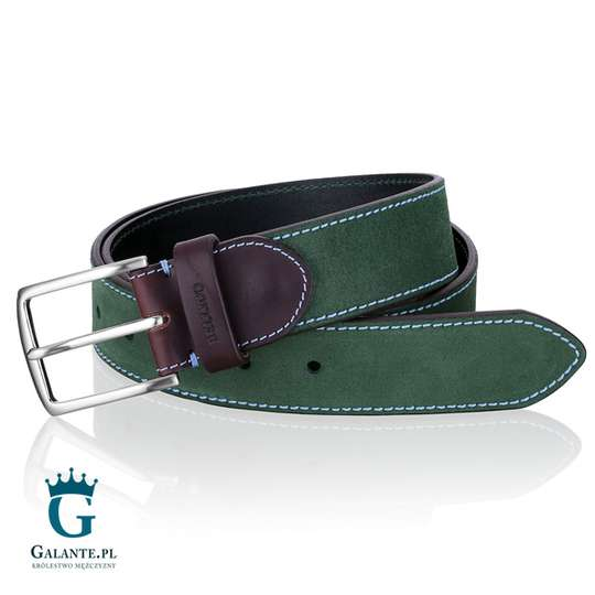 Zamszowy zielony pasek do spodni