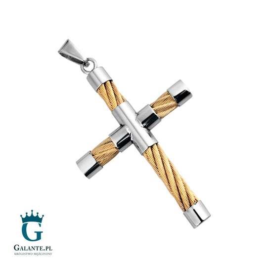 Złoty pleciony krzyżyk - wisiorek męski