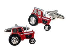 Czerwony traktor spinki do mankietów
