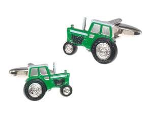 Zielony traktor - spinki do koszuli
