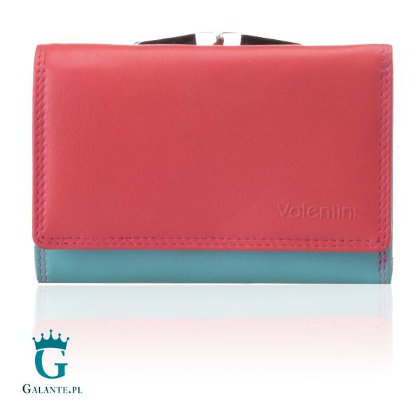 88188b5a82c71 Mały kolorowy portfel damski Valentini w kolorze różowym i miętowym