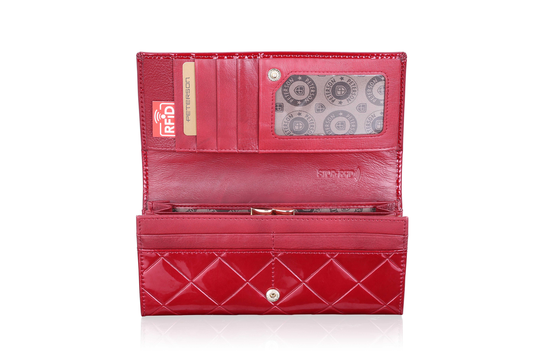 500a5b5ef3147 Skórzany Portfel Damski PETERSON PA467 RFID Czerwony Krata | Sklep ...