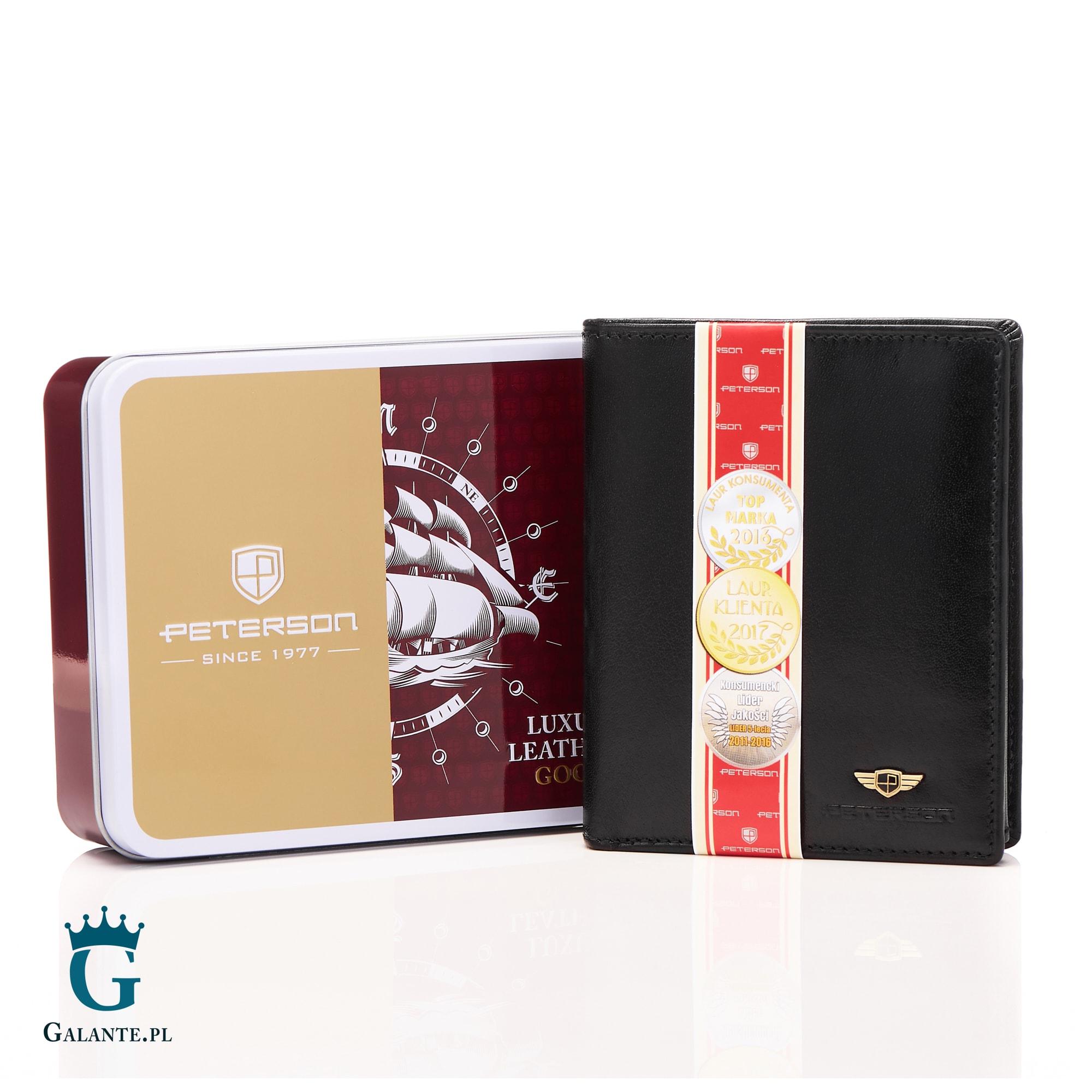 1c6390b97c9af Duży portfel męski czarny Peterson 301 to klasyka. Pojemny i bardzo  rozbudowany